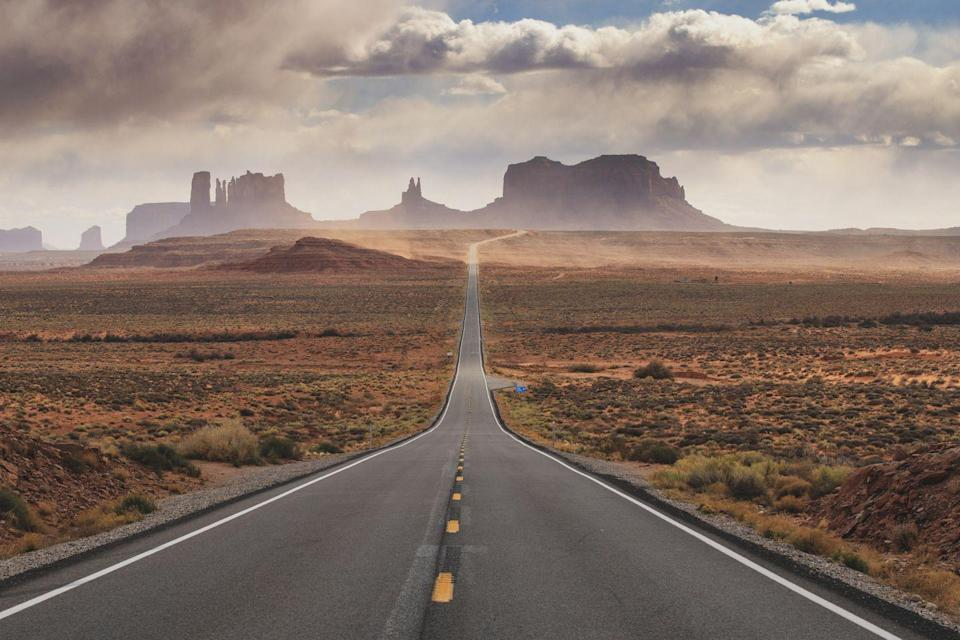 <p>The road leading up to Monument Valley Tribal Park in Arizona, U.S. Route 163, offers up stunning red-sand desert vistas.</p>