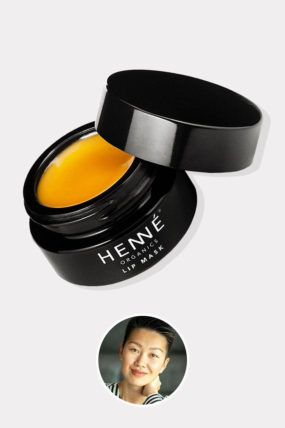 """<p><strong>Henne Organics</strong></p><p>henneorganics.com</p><p><strong>$37.00</strong></p><p><a href=""""https://henneorganics.com/lip-mask"""" rel=""""nofollow noopener"""" target=""""_blank"""" data-ylk=""""slk:Shop Now"""" class=""""link rapid-noclick-resp"""">Shop Now</a></p><p>Henne founder Laura Xiao craves a streamlined life—and that includes her beauty regimen. This idea inspired her clean line, which features myriad lip products from a serum to scrubs to tints. But her mask is a revelation: It coddles delicate lip skin with ingredients like sea buckthorn and evening primrose. And the scent—<em>the scent</em>—is incredible. It's a delicate blend of citrus and vanilla that's universally appealing.</p>"""