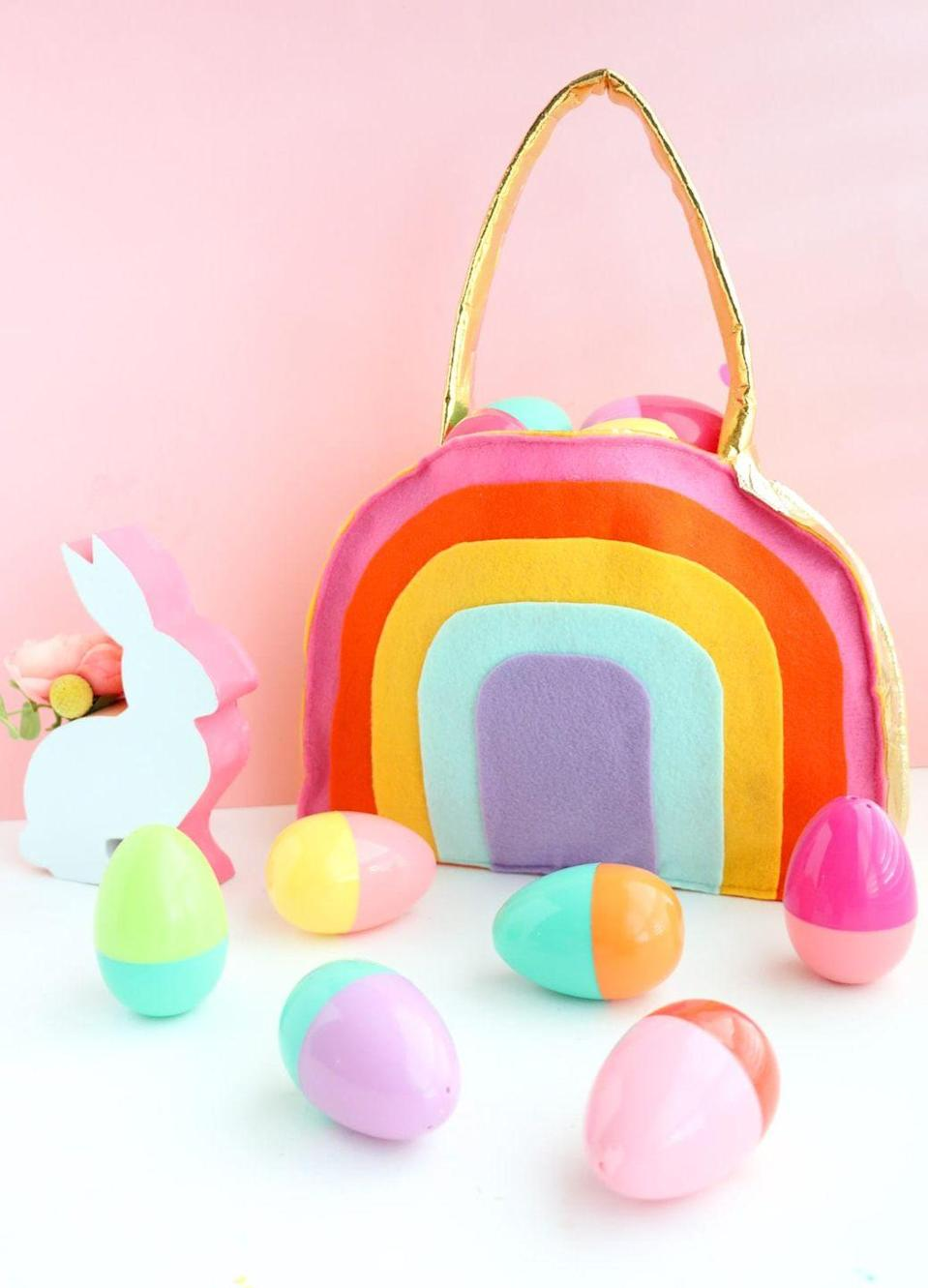 "<p>Use multicolored felt to create a purse/Easter basket combo your tween will adore.</p><p>Get the tutorial at <a href=""https://lovelyindeed.com/make-rainbow-easter-basket/"" rel=""nofollow noopener"" target=""_blank"" data-ylk=""slk:Lovely Indeed."" class=""link rapid-noclick-resp"">Lovely Indeed.</a></p><p><a class=""link rapid-noclick-resp"" href=""https://www.amazon.com/dp/B01MSRL8XN/ref=twister_B01MD0X83J?_encoding=UTF8&psc=1&tag=syn-yahoo-20&ascsubtag=%5Bartid%7C10072.g.30506642%5Bsrc%7Cyahoo-us"" rel=""nofollow noopener"" target=""_blank"" data-ylk=""slk:SHOP FELT"">SHOP FELT</a></p>"