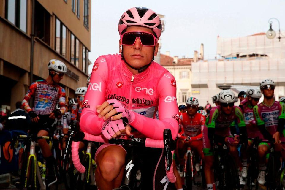 Team Deceuninck rider Portugals Joao Almeida waits at the start in the 16th stage of the Giro dItalia 2020 cycling race a 229 km between Udine and San Daniele in Udine on October 20 2020 Photo by Luca Bettini  AFP Photo by LUCA BETTINIAFP via Getty Images