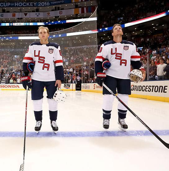 TORONTO, ON - SEPTEMBER 17: Max Pacioretty #67, T.J. Oshie #74, Patrick Kane #88 and Justin Abdelkader #89 of Team USA line up prior to the game against Team Europe during the World Cup of Hockey 2016 at Air Canada Centre on September 17, 2016 in Toronto, Ontario, Canada. (Photo by Andre Ringuette/World Cup of Hockey via Getty Images)