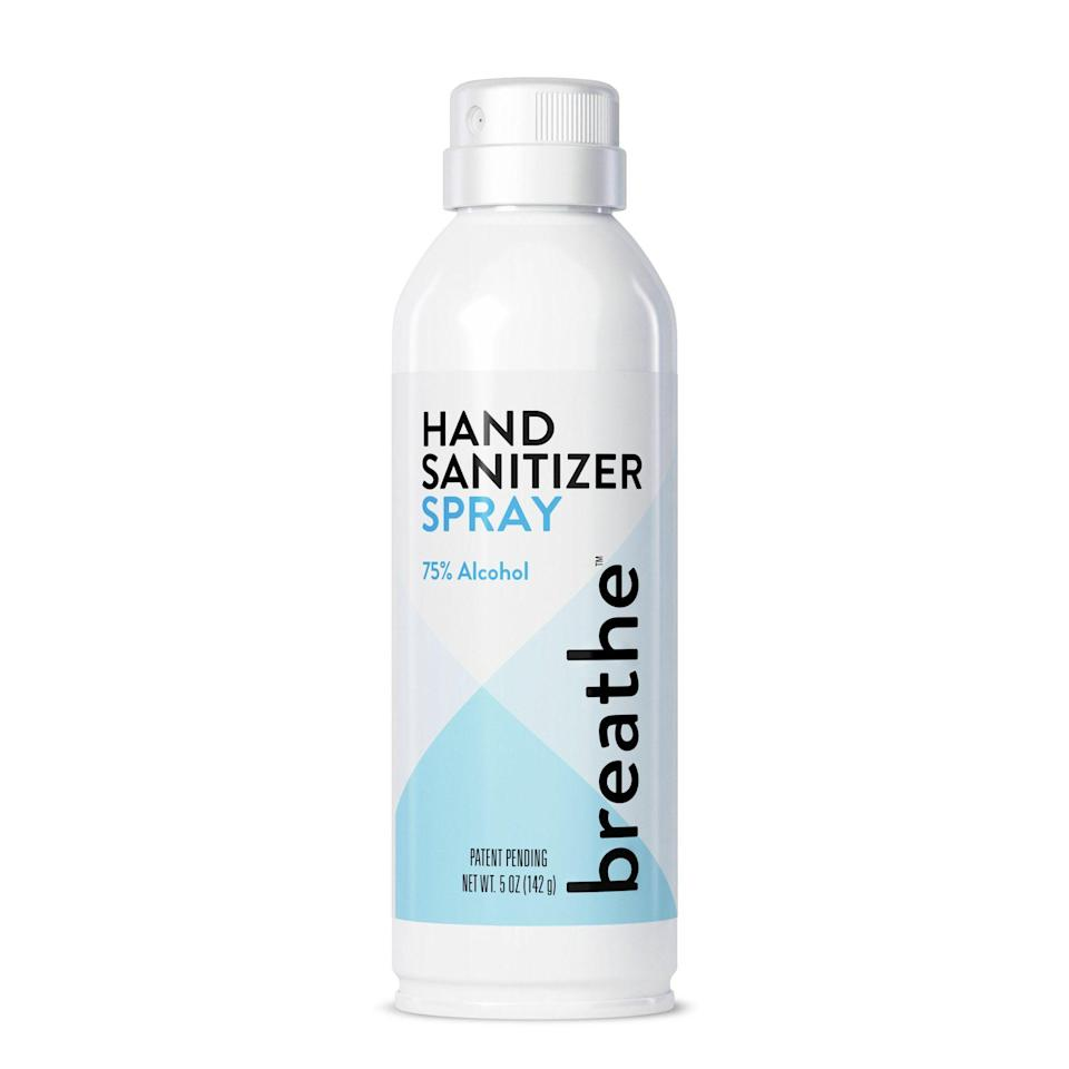 """<p>breathesanitizer.com</p><p><strong>$4.99</strong></p><p><a href=""""https://breathesanitizer.com/collections/all/products/copy-of-hand-sanitizer-spray-5-oz"""" rel=""""nofollow noopener"""" target=""""_blank"""" data-ylk=""""slk:Shop Now"""" class=""""link rapid-noclick-resp"""">Shop Now</a></p><p>This 75 percent alcohol hand sanitizer features a handy continuous spray. It's powered by the air you breathe, so there are no harmful or flammable propellants here. It also boasts a two-year shelf life.</p>"""