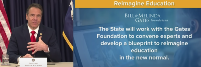 """screenshot of Governor Andrew Cuomo of New York talking about his plan to """"reimagine education"""" with the Bill and Melinda Gates Foundation"""