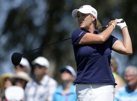 April 2, 2017; Rancho Mirage, CA, USA; Cristie Kerr hits from the third course tee box during the final round of the ANA Inspiration golf tournament at Mission Hills CC - Dinah Shore Tournament Cou. Mandatory Credit: Gary A. Vasquez-USA TODAY Sports