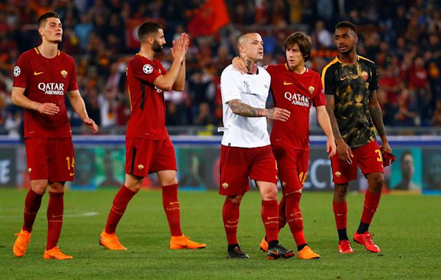 Soccer Football - Champions League Semi Final Second Leg - AS Roma v Liverpool - Stadio Olimpico, Rome, Italy - May 2, 2018 Roma's Radja Nainggolan looks dejected with team mates after the match REUTERS/Tony Gentile
