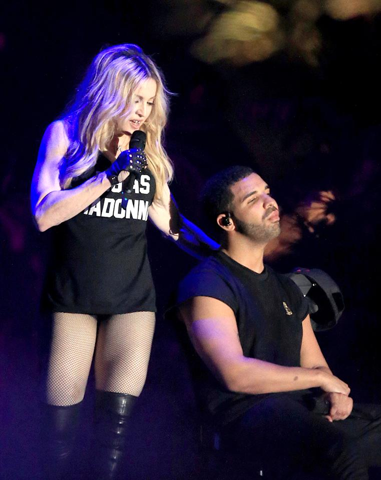 <p>Drake and Madonna perform onstage during day 3 of the 2015 Coachella Valley Music & Arts Festival (Weekend 1) at the Empire Polo Club on April 12, 2015 in Indio, California. (Photo: Christopher Polk/Getty Images for Coachella) </p>