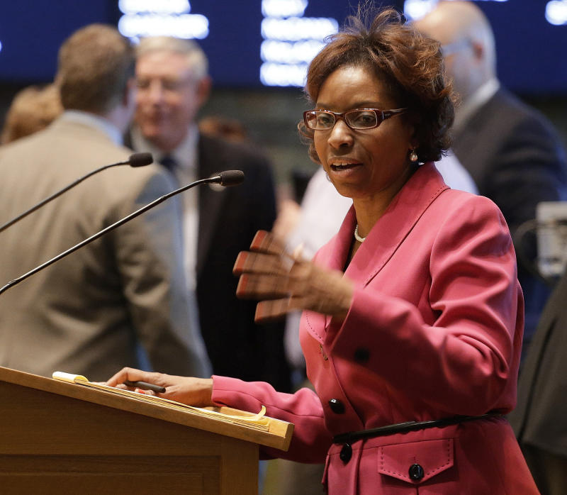 FILE - This Feb. 15, 2013 file photo shows Rep. Rhonda Fields, D-Aurora, as she  urges House members to pass her bill on limiting the size of ammunition  magazines at the Capitol in Denver. Lawmakers have become the target of aggressive and sometimes threating emails and phone calls as the debate over stricter gun laws escalates in Colorado and other states. In one case, emails and a letter to Democratic Rep. Rhonda Fields was so charged with profanity and references to violence that Denver police arrested a man suspected sending the communication. (AP Photo/Ed Andrieski, File)