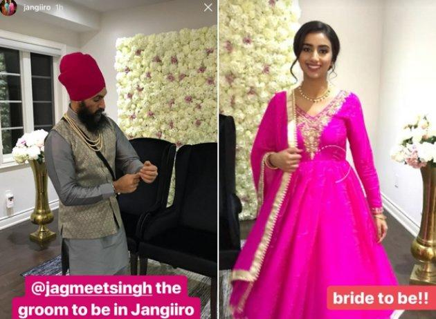 "Instagram posts described NDP Leader Jagmeet Singh as ""groom to be,"" and Gurkiran Kaur Sidhu as ""bride to be."""
