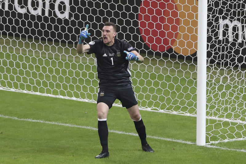 Argentina's goalkeeper Franco Armani reacts after he made a save during a Copa America Group B soccer match against Paraguay at Mineirao stadium in Belo Horizonte, Brazil, Wednesday, June 19, 2019. (AP Photo/Ricardo Mazalan)