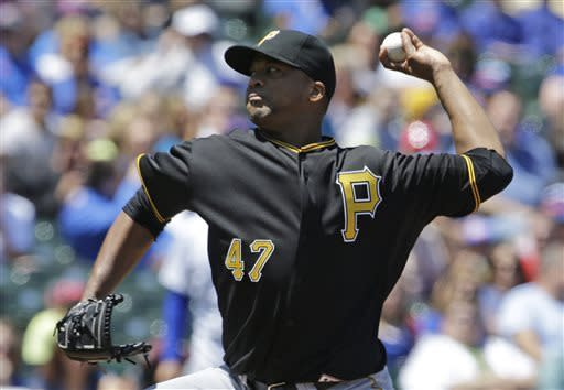 Pittsburgh Pirates starter Francisco Liriano throws against the Chicago Cubs during the first inning of a baseball game, Friday, June 7, 2013, in Chicago. (AP Photo/Nam Y. Huh)