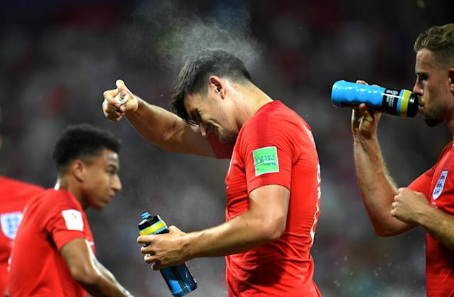 <p>Harry Maguire of England sprays himself with insect repellant during the 2018 FIFA World Cup Russia group G match between Tunisia and England at Volgograd Arena on June 18, 2018 in Volgograd, Russia. (Photo by David Ramos – FIFA/FIFA via Getty Images) </p>