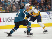 San Jose Sharks' Joakim Ryan (47) defends but can't stop Nashville Predators' Filip Forsberg (9), as Forsberg fires the puck to score in the second period of an NHL hockey game in San Jose, Calif., Tuesday, Nov. 13, 2018. (AP Photo/Josie Lepe)