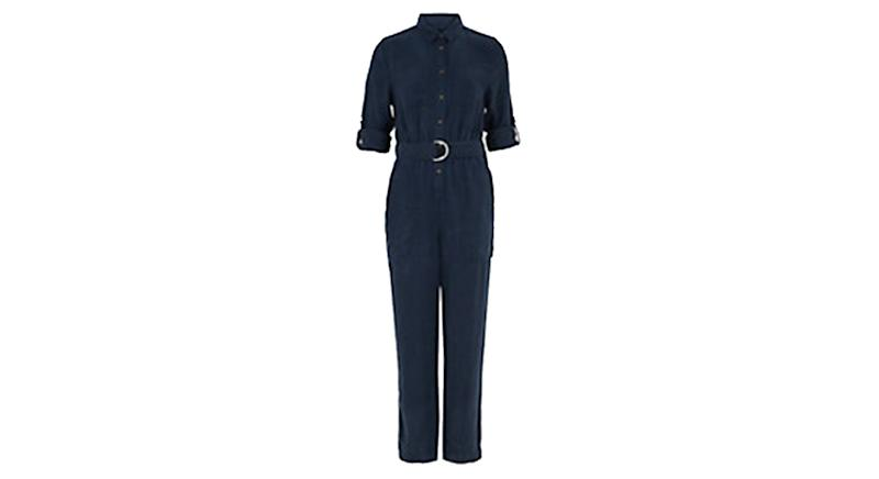 Tencel™ Belted Long Sleeve Utility Jumpsuit