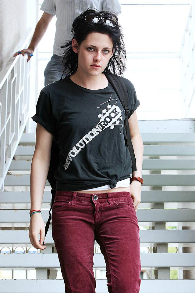 """Kristen Stewart was made over with a new, darker 'do for her role as rocker Joan Jett in the upcoming film """"The Runaways,"""" based on the 1970s all-girl punk band of the same name. Sounds like the perfect role for someone who loves to wear Converse all the time! Clint Brewer/<a href=""""http://www.splashnewsonline.com/"""" target=""""new"""">Splash News</a> - June 11, 2009"""