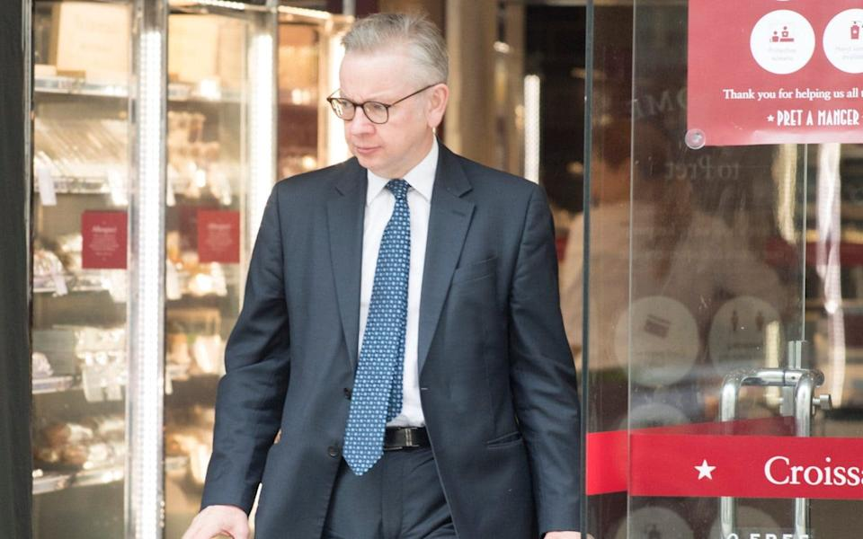 Michael Gove today at Pret a Manger in Westminster. - Jeremy Selwyn /Evening Standard / eyevine