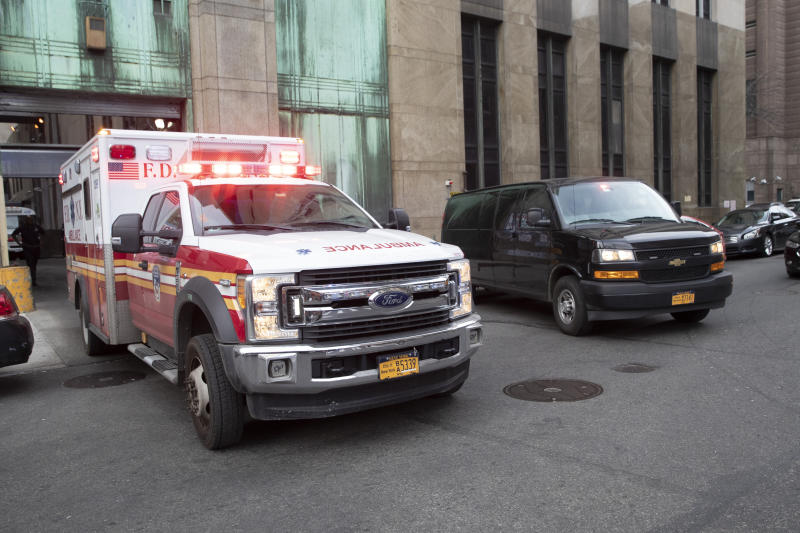 An ambulance carrying Harvey Weinstein is escorted from a Manhattan courthouse, on Monday, February 24, 2020, in New York. (AP Photo/Mary Altaffer)