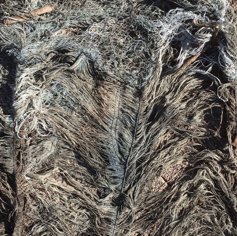 Photo shows lots of plastic strings making up the inside of an old pair of jeans.