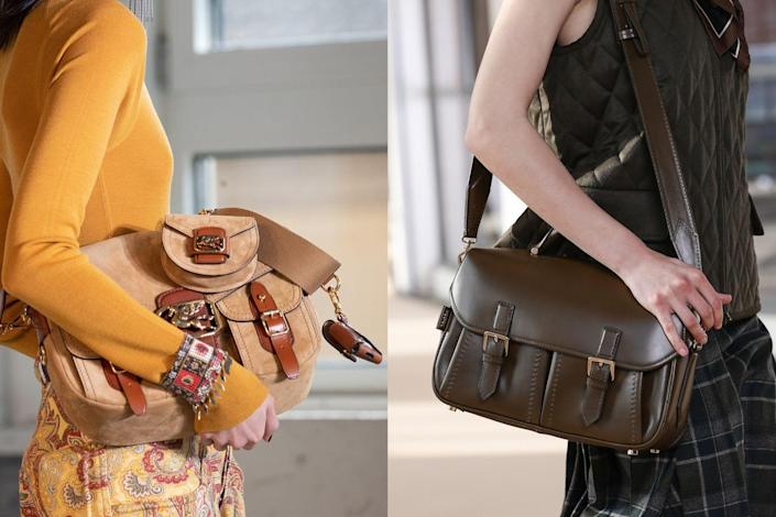<p>The functionality of this shape is grounded in purpose, but the exterior pockets and buckle details play big roles in the classic style which makes for a super chic all-day bag option. On the fall 2021 runways, Etro showed a canvas version <em>(left</em>) while Max Mara offered a supple leather style <em>(right</em>). </p>