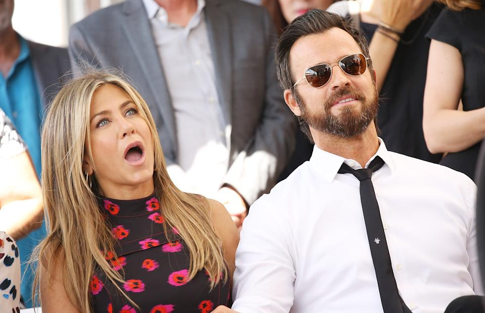 HOLLYWOOD, CA - JULY 26:  Jennifer Aniston and Justin Theroux attend the ceremony honoring Jason Bateman with a Star on The Hollywood Walk of Fame held on July 26, 2017 in Hollywood, California.  (Photo by Michael Tran/FilmMagic)