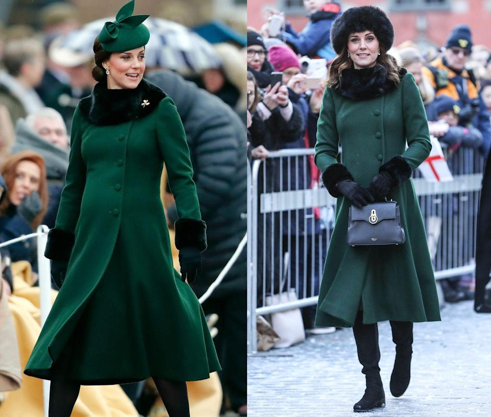 <p>This fur embellished emerald Catherine Walker coat first appeared on Duchess Kate while visiting Stockholm in January 2018 and then again a few months later while celebrating St. Patricks Day 2018. </p>