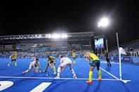 <p>TOKYO, JAPAN - AUGUST 03: Benedikt Furk of Team Germany and Joshua Beltz of Team Australia battle for the ball during the Men's Semifinal match between Australia and Germany on day eleven of the Tokyo 2020 Olympic Games at Oi Hockey Stadium on August 03, 2021 in Tokyo, Japan. (Photo by Alexander Hassenstein/Getty Images)</p>
