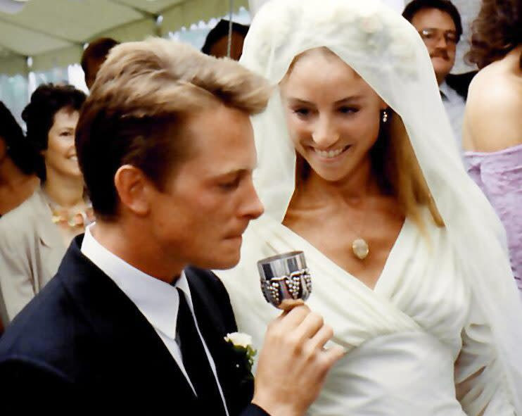 Michael J. Fox and Tracy Pollan on their wedding day