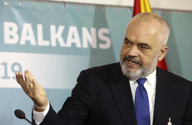 Albania's Prime Minister Edi Rama talks for the media during a joint news conference, following the Western Balkan leaders' meeting in the southwestern town of Ohrid, North Macedonia, Sunday, Nov. 10, 2019. Western Balkan leaders say they are committed to work closely and to remove administrative barriers for free movement of goods and people between their countries. (AP Photo/Boris Grdanoski)