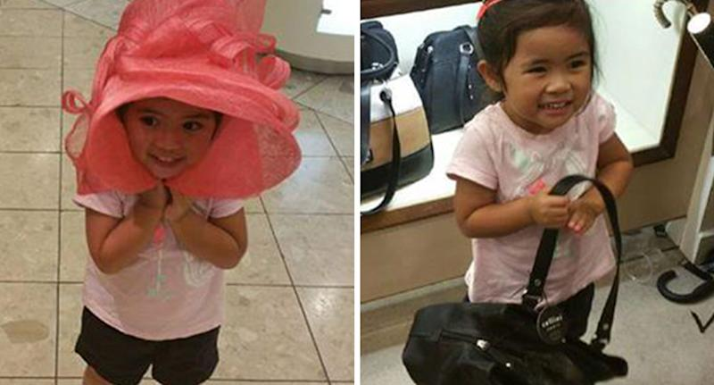 Caitlin pictured on the left wearing a pink hat and on the right holding a handbag and grinning.