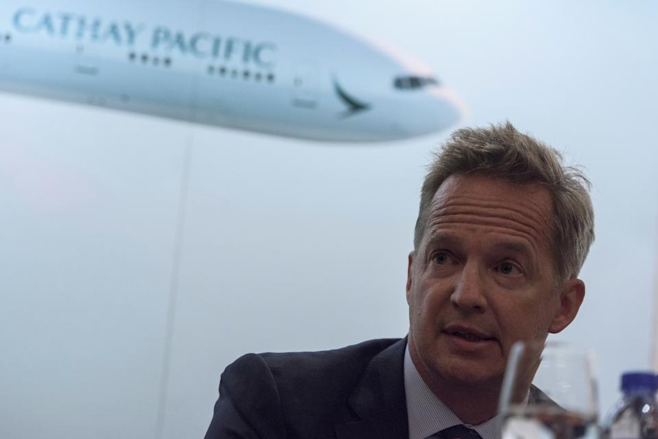 Cathay Pacific's Chief Executive Officer Rupert Hogg speaks during a press conference on the company's half-year results in Hong Kong on August 16, 2017. Hong Kong flag carrier Cathay Pacific on August 16 reported a massive net loss of HK$2.05 billion ($262.07 million) for the first half of the year as the airline struggled with intense competition from rivals. / AFP PHOTO / Anthony WALLACE        (Photo credit should read ANTHONY WALLACE/AFP/Getty Images)