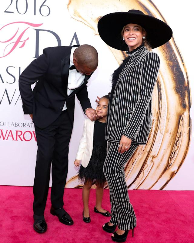 "<p>In June 2016, Bey received the Fashion Icon Award at the CFDA Fashion Awards and was supported inside by Jay-Z and Blue. This was <a href=""https://www.yahoo.com/entertainment/blue-ivy-carter-makes-her-1445772694208566.html"" data-ylk=""slk:Blue's red carpet debut;outcm:mb_qualified_link;_E:mb_qualified_link"" class=""link rapid-noclick-resp newsroom-embed-article"">Blue's red carpet debut</a> — at 4. (Photo: Shutterstock) </p>"