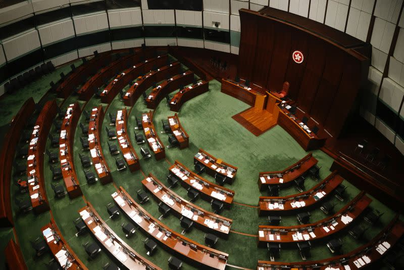 FILE PHOTO: Legislative Council chamber is seen after legislators were disqualified when Beijing passed new dissent resolution in Hong Kong