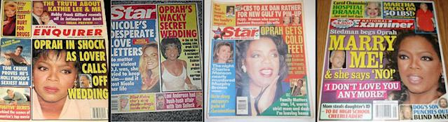 According to the tabloids, Oprah has been planning a wedding for decades. (Photos: <em>National Enquirer</em>/ <em>Star</em>/ <em>Examiner</em>)