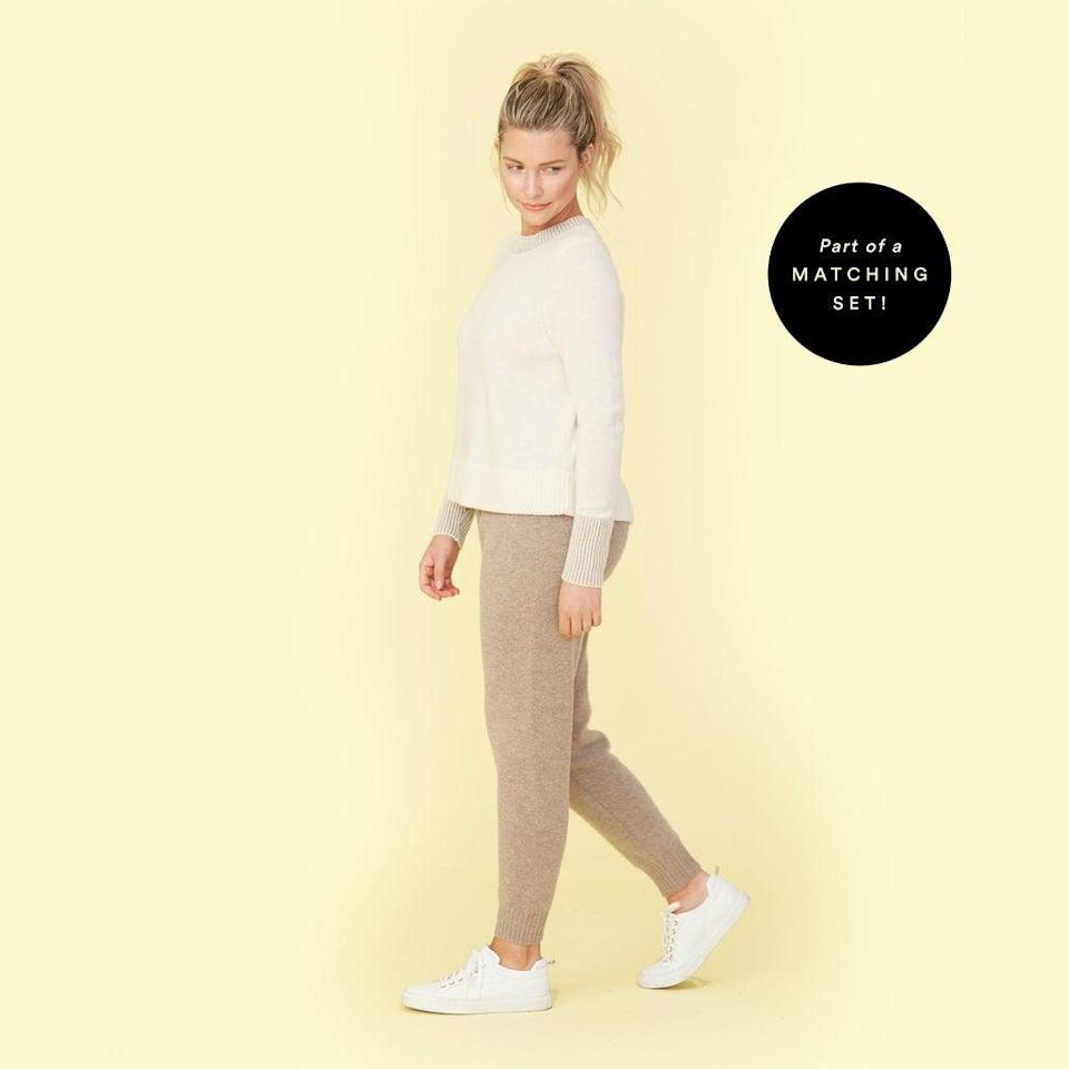 "<h2>Summersalt Coziest Cashmere Joggers<br></h2><br>We're superfans of Summersalt's extensive range of comfy duds, from expertly-fitted swimwear to move-with-you activewear. They also offer plenty in the cozy category, with a selection of affordable cashmere-blended separates that boast major softness points. These joggers are rendered with a blend of 30% cashmere and 70% mercerized wool, which earned them 25 glowing reviews from the brand's vocal customers.<br><br><strong>Summersalt</strong> Coziest Cashmere Blend Jogger, $, available at <a href=""https://go.skimresources.com/?id=30283X879131&url=https%3A%2F%2Fwww.summersalt.com%2Fcollections%2Fthe-coziest-cashmere-collection%2Fproducts%2Fthe-coziest-cashmere-jogger-camel"" rel=""nofollow noopener"" target=""_blank"" data-ylk=""slk:Summersalt"" class=""link rapid-noclick-resp"">Summersalt</a>"