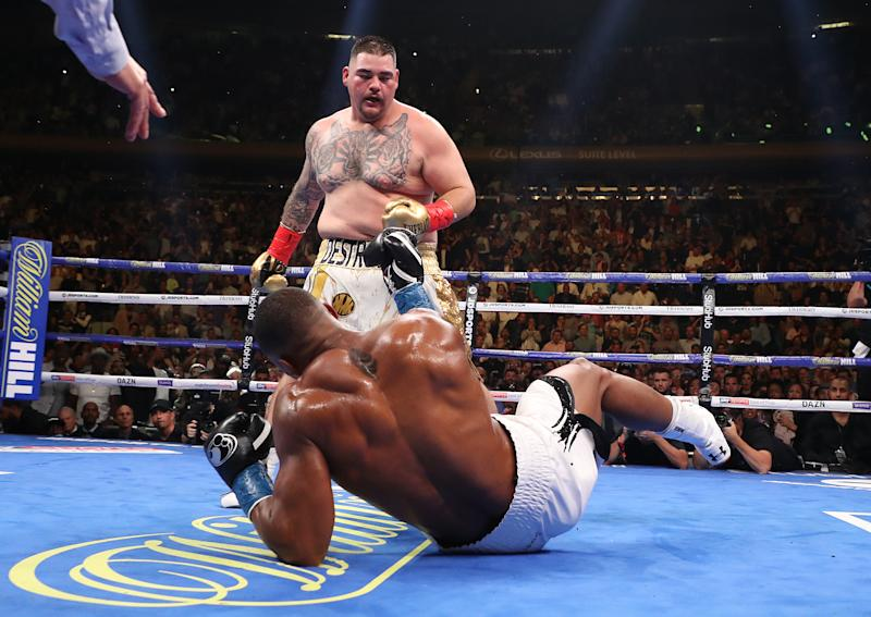 NEW YORK, NEW YORK - JUNE 01: Andy Ruiz Jr knocks down Anthony Joshua in the third round. (Credit: Getty Images)