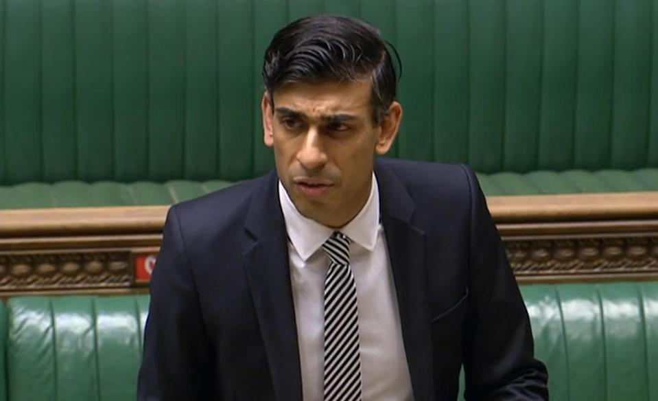 Chancellor of the exchequer Rishi Sunak giving a statement on the economy in the House of Commons, London. Photo: House of Commons/PA via Getty