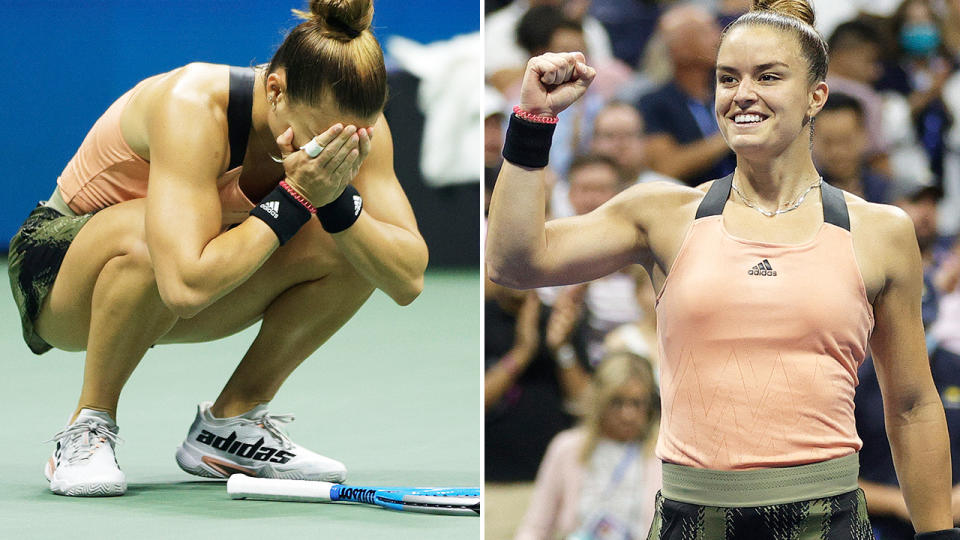 Maria Sakkari, pictured here after becoming the first Greek player into the semi-finals at the US Open.