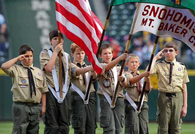 """This news comes just two months afterGirl Scouts of the USA accused the Boy Scouts of Americaof conducting a""""covert campaign to recruit girls into programs run by the Boy Scouts."""" (Otto Greule Jr via Getty Images)"""