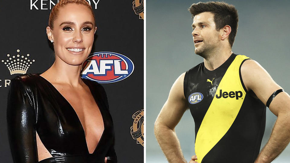 Brooke Cotchin (pictured left) posting for a photo and Trent Cotchin (pictured right) looking frustrated.