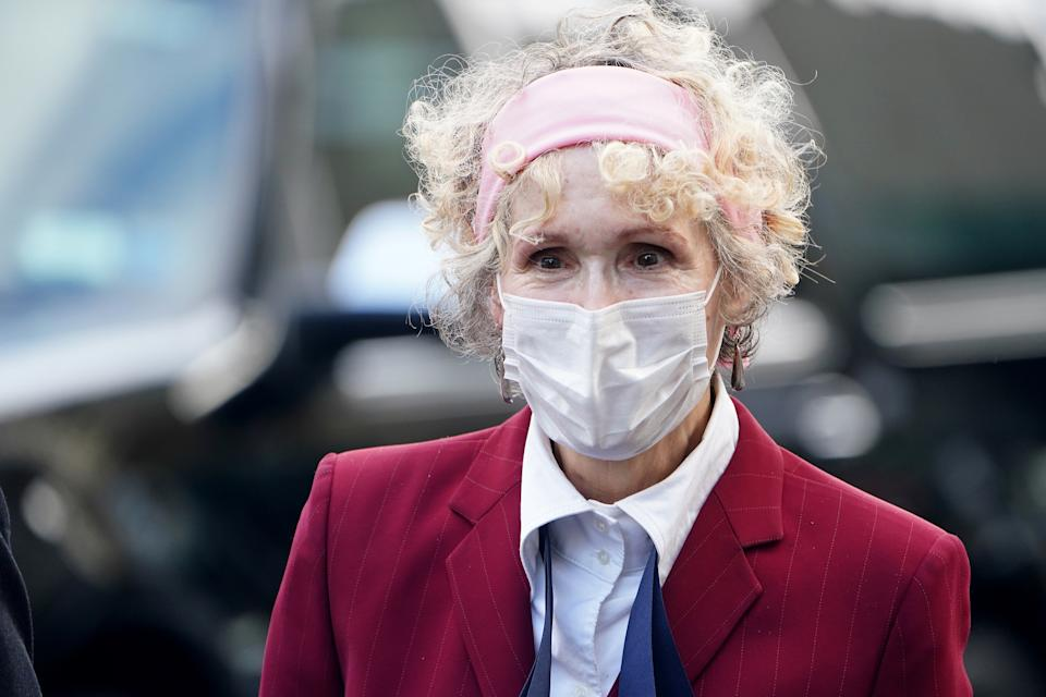 E. Jean Carroll arrives for her hearing at federal court during the coronavirus disease (COVID-19) pandemic in the Manhattan borough of New York City, New York, U.S., October 21, 2020. REUTERS/Carlo Allegri