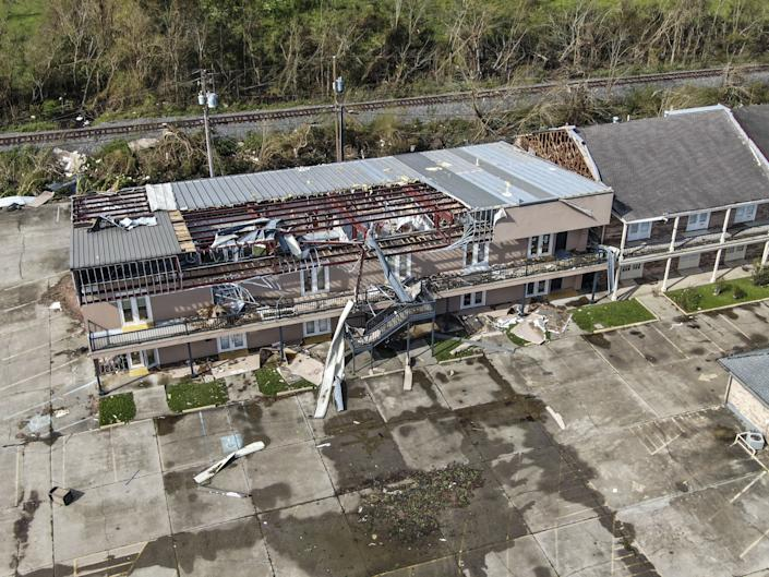 An aerial photo made with a drone shows damage caused by Hurricane Ida in LaPlace, Louisiana, USA, 31 August 2021. The Category 4 storm came ashore on 29 August causing heavy flooding, downing trees, and ripping off roofs. (Tannen Maury/EPA-EFE/Shutterstock)
