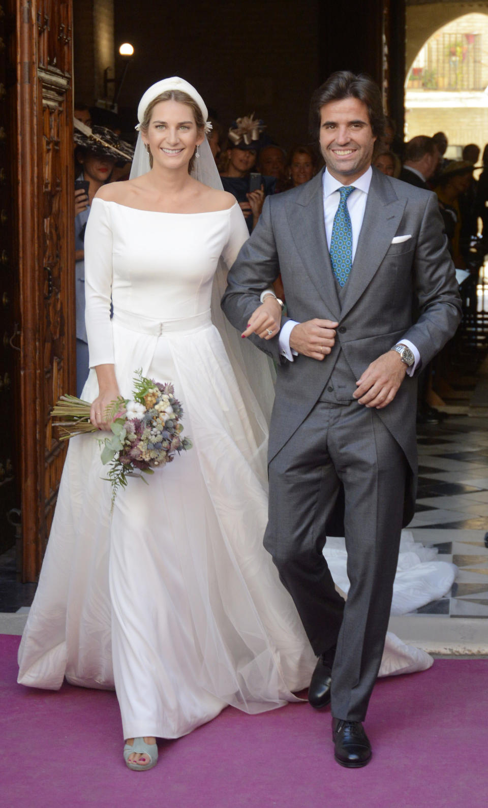 SEVILLE, SPAIN - OCTOBER 07:  Sibi Montes and Alvaro Sanchis attend their wedding at Parroquia Santa Ana on October 7, 2017 in Seville, Spain.  (Photo by Europa Press/Europa Press via Getty Images)