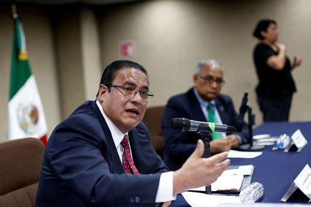 Ismael Eslava, first inspector general of Mexico's National Human Rights Commission (CNDH), speaks during a news conference in Mexico City, Mexico