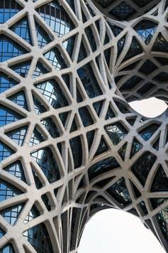 A detail shot of the exterior of Morpheus Hotel by Zaha Hadid Architects in Macau, China