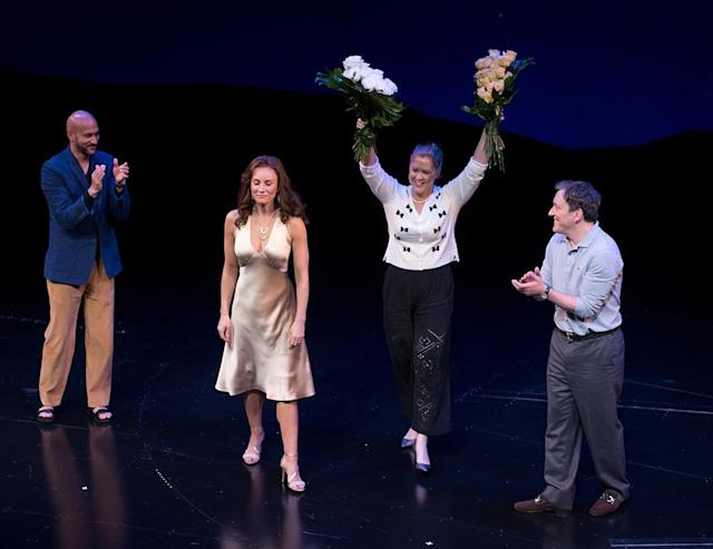 <p>It was a dream come true for Schumer, who looked ecstatic during the curtain call for her opening night on Broadway on Wednesday. The foursome star in <em>Meteor Shower — </em>written by comedy legend Steve Martin<em> — </em>which focuses on a double-date dinner party gone awry. (Photo: Noam Galai/Getty Images for Meteor Shower) </p>