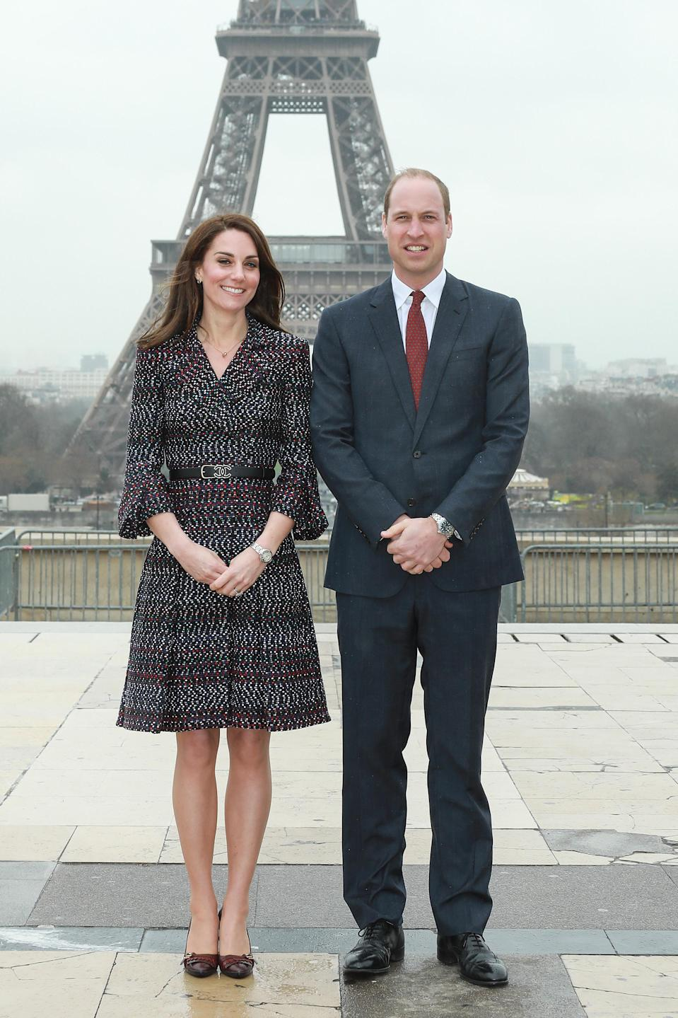 <p>For a trip to Paris, the Duchess of Cambridge flew the French flag in head-to-toe Chanel. The tweed coat cost an impressive £8,350 with the matching logo belt priced at £685. She finished the look with a quilted £3,000 Chanel bag. <em>[Photo: Getty]</em> </p>