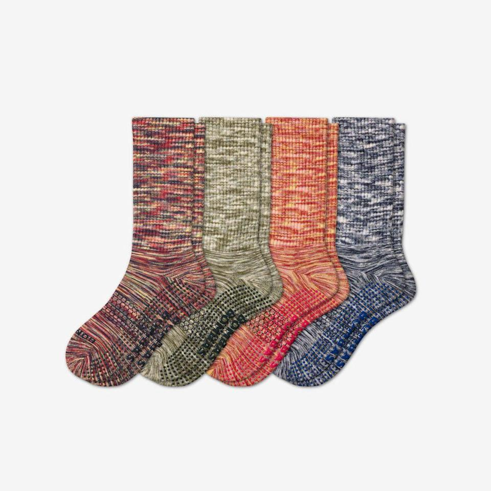 """<p>bombas.com</p><p><strong>$53.20</strong></p><p><a href=""""https://bombas.com/products/womens-gripper-calf-sock-4-pack?variant=mixed-4&size=m"""" rel=""""nofollow noopener"""" target=""""_blank"""" data-ylk=""""slk:Shop Now"""" class=""""link rapid-noclick-resp"""">Shop Now</a></p><p>For every pair of socks purchased, <a href=""""https://bombas.com/"""" rel=""""nofollow noopener"""" target=""""_blank"""" data-ylk=""""slk:Bombas"""" class=""""link rapid-noclick-resp"""">Bombas </a>donates a pair to a homeless shelter in need, as they are most requested piece of clothing in the community. Socks come in a variety of styles, including hiking, running, and lounging options.</p>"""