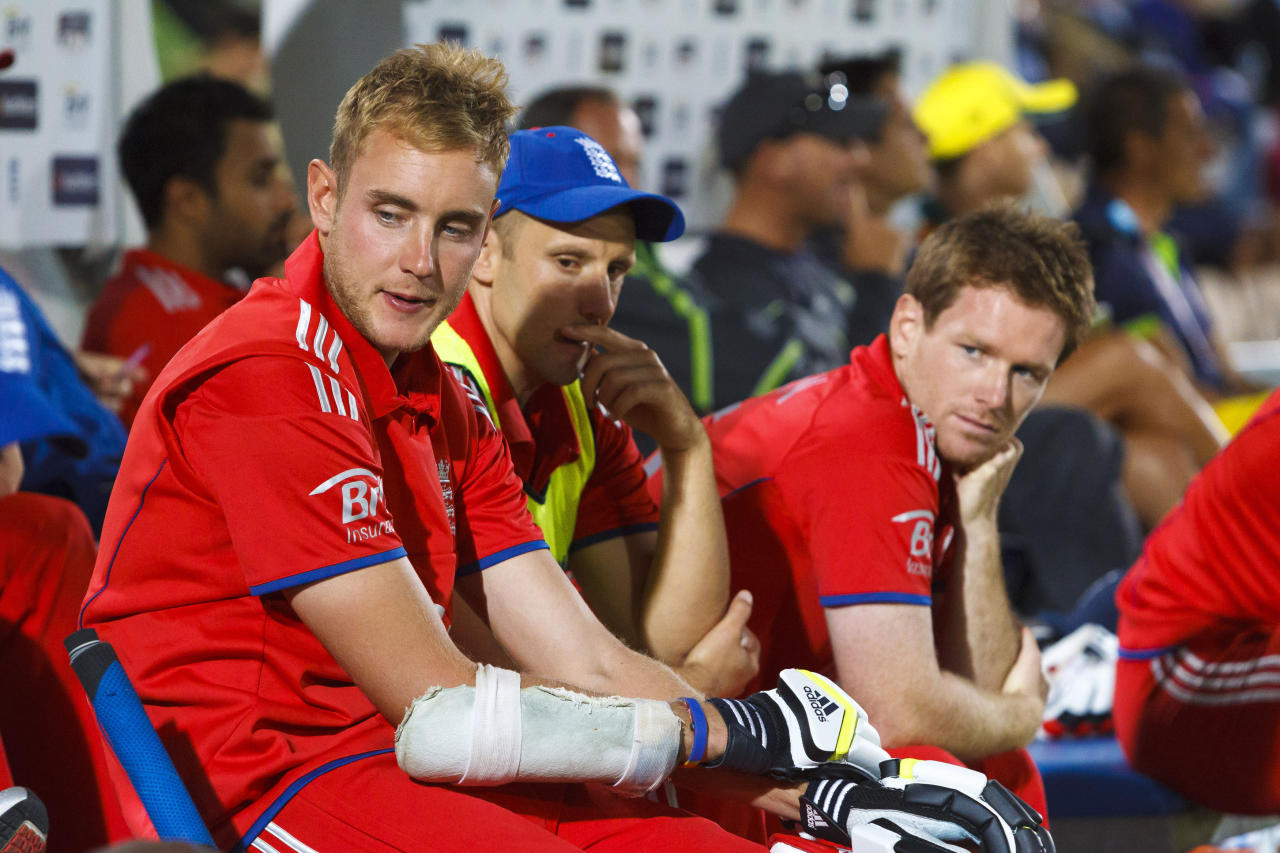 England's Stuart Broad awaits the end of the match and defeat to Australia during the International Twenty20 match at the Ageas Bowl, Southampton.