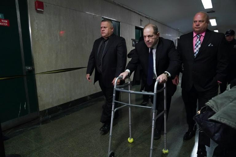 Disgraced Hollywood mogul Harvey Weinstein looked frail as he was helped into the courtroom using a walking frame