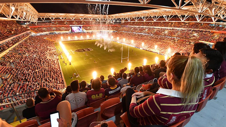 Queensland fans watch on at Suncorp for a record crowd post the pandemic restart for State of Origin.