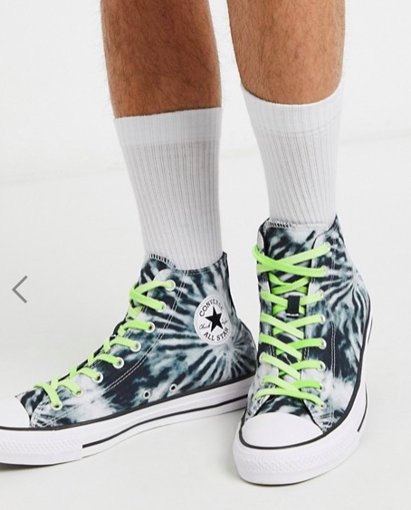 Converse Chuck Taylor All Star Hi tie-dye trainers in black and green, S$111.99. PHOTO: ASOS
